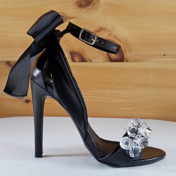 "Cape Lola 19 Black Satin Back Bow & Jeweled Toe Strap 4.5"" Heel Sandal Shoe"