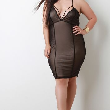 Strappy V-Neck Mesh Sleeveless Midi Dress