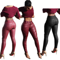 2016 Sexy Skinny Leather Jeans High Waisted Full Length Black Trousers Pockets Pants Casual Plus Size For Women Ladies Feminina