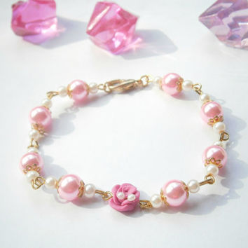 Pink Rose Bracelet - Fimo Jewellery - Polymer Clay Jewelry - Beaded Bracelets - Glass Bead Braclet - Pink and Gold - Rose Jewelry