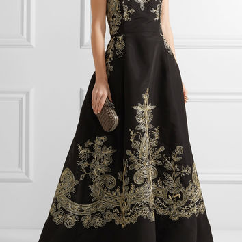 Oscar de la Renta - Embroidered silk-faille strapless gown