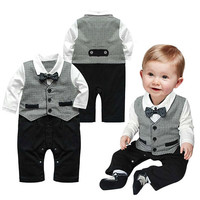 Boys Black and White Bow Tie Onesuit