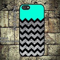 Glitter Print Chevron iPhone 5 case, iPhone 4s / 4 case hard plastic or silicon rubber