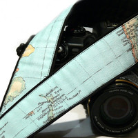 World Map Camera Strap. Vintage Camera Strap. Canon Camera Strap. Nikon camera Strap. SLR dSLR Camera Strap. Camera Accessories