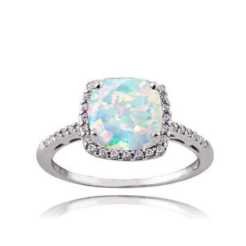 Sterling Silver Created Opal and Cubic Zirconia Cushion-Cut Halo Ring