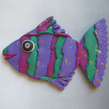 Torn Stripe 3D Large Fish Magnet or Wall Art in Purple, Green and Pink Polymer Clay