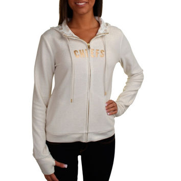 All Sport Couture Kansas City Chiefs Ladies Play Action Full Zip Hoodie - Cream
