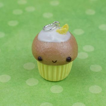Kawaii Lemon Cupcake Charm | Polymer Clay | Miniature Sweet Food | Handmade Gift | Charm Necklace | Cute