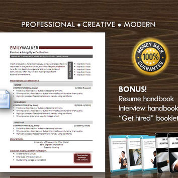 Resume Template / CV Template for MS Word / Professional and Modern Resume Design / Instant Digital Download / Mac or PC / Resume Handbook12