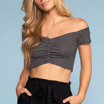 Sweet Ivy Off The Shoulder Ruched Crop Top - Black
