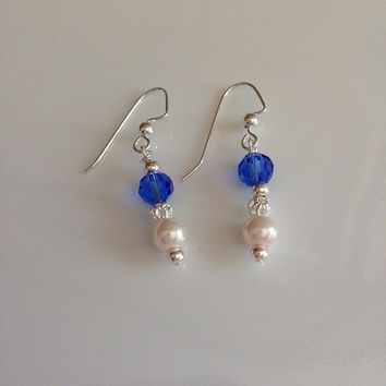 Blue Faceted Beads Pearls Beads Filigree accent Silver Beads Dangle Pierced Earrings Women Girls Bridal Evening Elegant Bride
