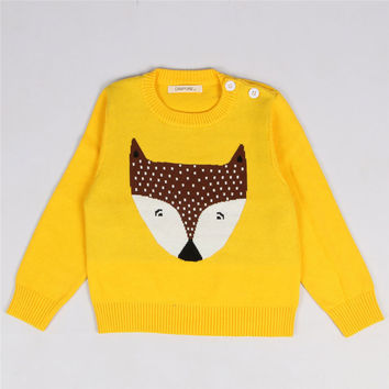 2016 Autumn Winter Kids Sweaters 12M-5Y Children's Clothing Baby Girls and Boys Cute Fox Pattern Sweater Casual Knit Pullover