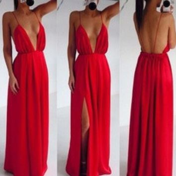 Sexy Clothing Wedding Elegant Red Spaghetti Strap Embroidery Pleated Backless Maxi Dress 2014 new summer Party dress [7652777734]