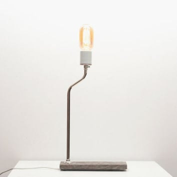 Industrial Lamp I- Vintage Wood Lighting, Rustic Table Lamp, Salvaged Wood, Exposed Edison Radio Bulb