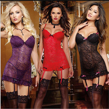 Cute Hot Deal On Sale See Through Sexy Print Lace Dress Exotic Lingerie [6596684483]