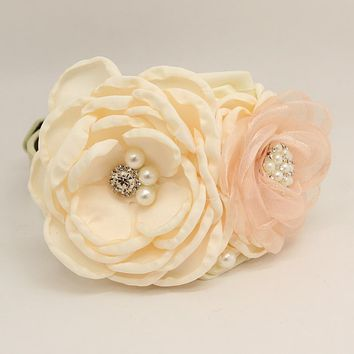 Patience Ivory Pink Flower dog collar, Pet wedding accessory, Pearls Rhinestone