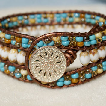 Beaded leather cuff bracelet, Picasso bohemian beaded leather wrap cottage boho shabby chic trendy jewelry rustic bone Turquoise, yellow