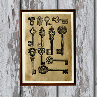 Skeleton keys print Old looking Antiqued decoration 8.3 x 11.7 inches