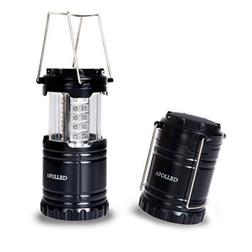 APOLLED Ultra Bright Portable Waterproof  LED Camping Lantern Flashlights, Tent Light Flashlight for Hiking, Camping, Emergencies (Black, Collapsible)