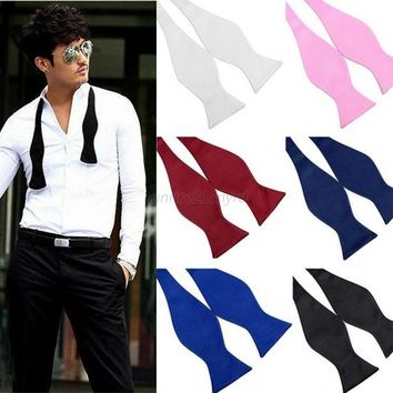 Men Bowties Solid Color Plain Silk Self Tie Bow Ties Multi-Colors