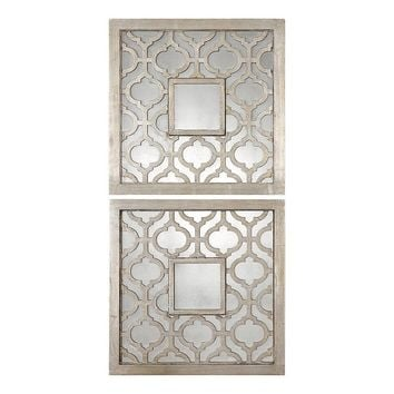Sorbolo Square 2-piece Trellis Wall Mirror Set (Grey)