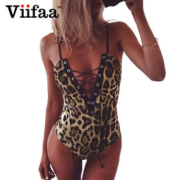 Viifaa Leopard Print Bodysuit Women Lace Up Jumpsuit Body Femme Deep V-Neck Sexy Bodysuits Summer Rompers