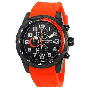 Invicta Pro Diver Chronograph Black Dial Orange Polyurethane Mens Watch 21948