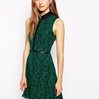 Iska Lace Dress with Button Through Top