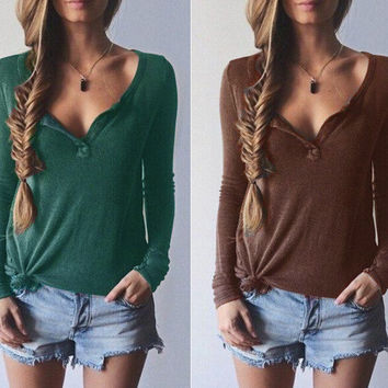 Autumn and Winter V-neck Thread Sweater Blouse Retro Long Sleeve T-shirt for Women Gift-110