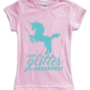 Pink 'I Eat Glitter for Breakfast' Fitted Tee - Toddler & Girls