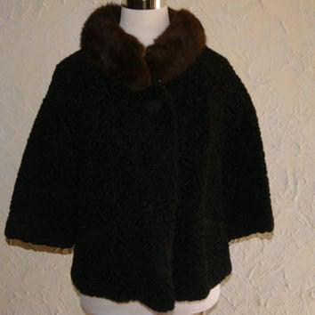 Vintage 1950s CITY FUR CO Jacket Cropped Three Quarter Sleeve Black Curled Lamb Fur And Brown Faux Fur Collar Size 10