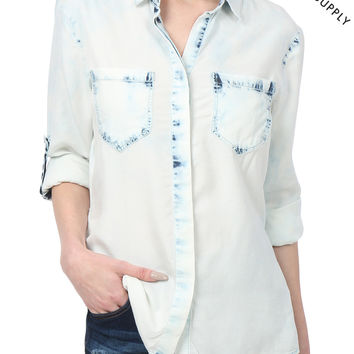 THREAD & SUPPLY PREMIUM DESIGN Womens Chambray Denim Bleach Shirt with Split Back (CLEARANCE)