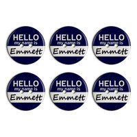 Emmett Hello My Name Is Plastic Resin Button Set of 6