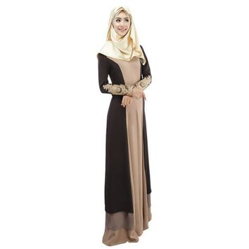 CREYYN6 3 Colors Vintage Kaftan Abaya Women Slim Muslim Dress Long Sleeve Soft Maxi Islamic 4558