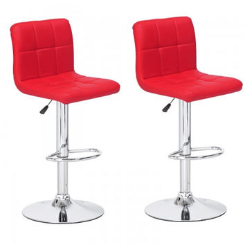 Joveco 360 Degree Swivel Adjustable Leatherette Counter Bar Stools - Set of 2 (Red)