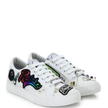 KENZO - Imprime Embroidered Leather Low-Top Sneakers