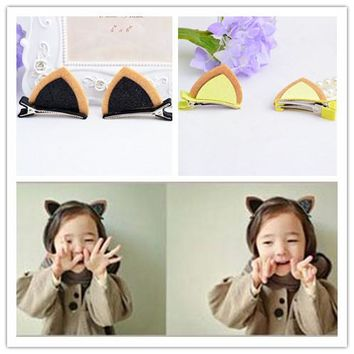 2 pieces 2017 New Shining Cat Rabbit Ears Girls Hair Clips Kids Hairpins Barrettes Children Hair Accessories