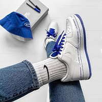 Nike Air Force 1 new men's and women's blue and white stitching wild casual shoes