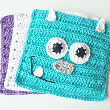 Crochet Wash Cloths - Cotton Crocheted Wash Cloths - Baby Wash Cloths - Monsters Inc Sully Crochet Washcloths - Sulley Crochet wash Cloths