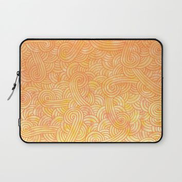 Yellow and orange doodles Laptop Sleeve by Savousepate