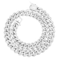 Sterling Silver Hip Hop 12mm Miami Cuban Baguette Necklace