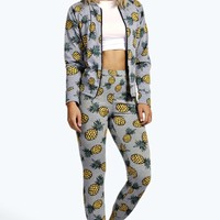 Lydia Pineapple Bomber And Jogger Lounge Set