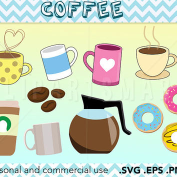 Coffee clipart, mug clipart, donut vector, coffee pot clipart Vector art, Raster images, Clipart download, Instant download, clip art