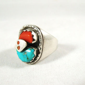 Sale Vintage Effie Silver Turquoise Coral Snake Ring Native American Zuni Unisex Men's Women's size 9