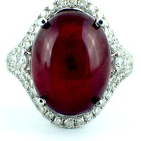 19.61tcw Cabochon Ruby & Diamonds in 14K White Gold Cocktail Ring