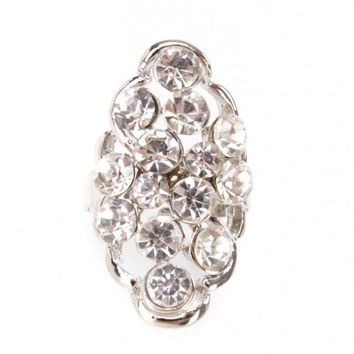 Sexy Silver High Polished Faux Rhinestone Centered Accent Ring
