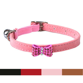 Soft Velvet Small Cat Collar with Sparkly Bow and Bell