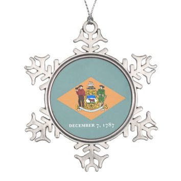 Snowflake Ornament with Delaware Flag