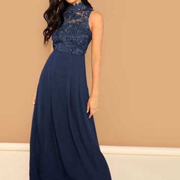 3ad84a6b81 Guipure Lace Top Flowy Maxi Prom Dress