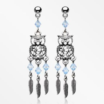 A Pair of Guardian Owl Dreamcatcher Feather Earring